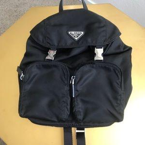 Prada nylon double zip backpack